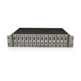 14-slot unmanaged media converter chassis, 19-inch