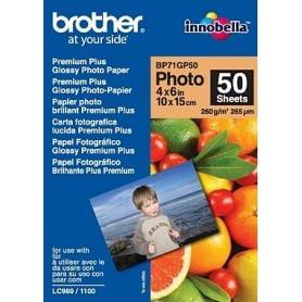 Brother Papel 'Glossy' 10x15. 50 folhas. p/130/145/330/350/240/440/465/540/560/660/750/770/3360/5460/845/885 - BP71GP50