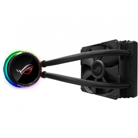 Asus ROG Ryuo 120 all-in-one liquid CPU cooler with color OLED, Aura Sync RGB, and ROG 120mm radiator fan - 90RC0010-M0UAY0