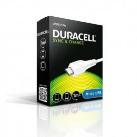 Cable USB 1m - Duracell Sync/Charge Cable 1 Metre White (For Android Micro USB Phones/Tablets)