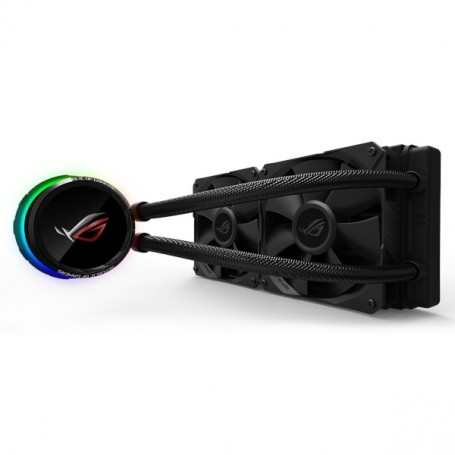 Asus ROG Ryuo 240 all-in-one liquid CPU cooler with color OLED, Aura Sync RGB, and ROG 240mm radiator fan - 90RC0040-M0UAY0