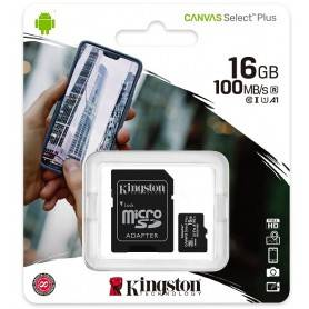 Kingston Micro SDHC 16GB Canvas Select Plus 100R A1 C10 Card + ADP - SDCS2/16GB