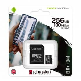 Kingston Micro SDXC 256GB Canvas Select Plus 100R A1 C10 Card + ADP - SDCS2/256GB