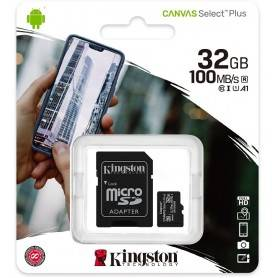 Kingston Micro SDHC 32GB Canvas Select Plus 100R A1 C10 Card + ADP - SDCS2/32GB