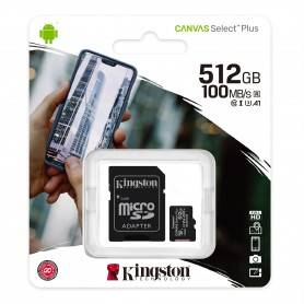 Kingston Micro SDXC 512GB Canvas Select Plus 100R A1 C10 Card + ADP - SDCS2/512GB