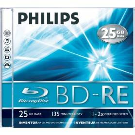 Philips Blu-Ray ReWritable 25GB 2x Jewel Case (5 unidades) - BE2S2J05C
